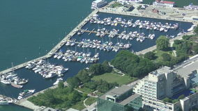Aerial view of marina in Toronto stock video footage
