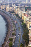 Aerial view of Marine Drive in Mumbai, India. Royalty Free Stock Photo