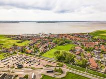 Aerial view of Marken, a small Dutch island in the Markermeer. / Ijsselmeer on the North Sea coast royalty free stock photos