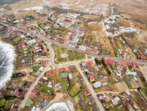 Aerial view of market, center part of Rajgrod. Poland Royalty Free Stock Images