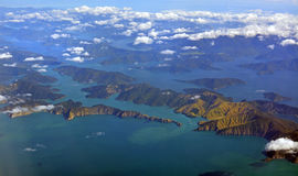Aerial view of the Marlborough Sounds on an Autumn Morning Royalty Free Stock Images