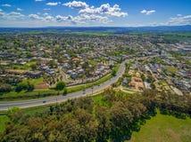 Aerial view of Maroondah Highway. royalty free stock photo