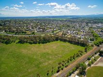 Maroondah Highway and Lilydale suburb. stock photo