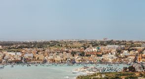 Aerial view of the Marsaxlokk - traditional fishing village in t Stock Images