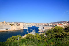 Aerial view of Marseille City and harbor Stock Photography