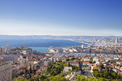 Aerial View of Marseille City and Harbor, France Stock Images