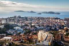Aerial View of Marseille City and Islands in Background Stock Photos