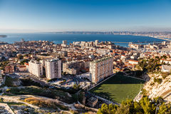 Aerial View of Marseille City and its Harbor Stock Photo