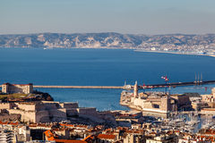 Aerial View of Marseille City and its Harbor Stock Images