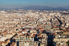 Aerial View of Marseille City and Mountains in Background Stock Photo
