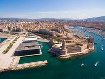 Aerial view of Marseille pier - Vieux Port, Saint Jean castle, a. Nd mucem in south of France stock image