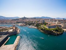 Aerial view of Marseille pier - Vieux Port, Saint Jean castle, a royalty free stock photos