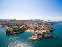 Aerial view of Marseille pier - Vieux Port, Saint Jean castle, a. Nd mucem in south of France royalty free stock images