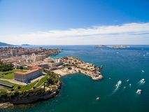 Aerial view of Marseille pier - Vieux Port, Saint Jean castle, a stock image
