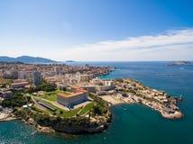 Aerial view of Marseille pier - Vieux Port, Saint Jean castle, a royalty free stock image