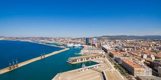 Aerial view of Marseille pier - Vieux Port, Saint Jean castle, a royalty free stock photo