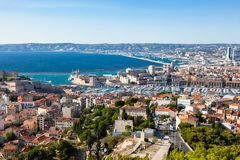 Aerial view of Marseille pier - Vieux Port, Saint Jean castle, a stock images