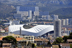 Aerial view of Marseille to the northern districts. With the cycling stadium and cited the Castellane background royalty free stock images