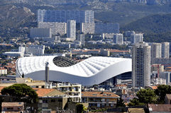 Aerial view of Marseille to the northern districts. With the cycling stadium and cited the Castellane background stock photo