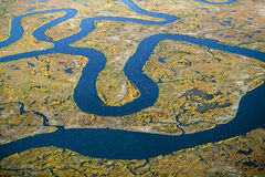 Aerial view of marsh, wetland abstraction of salt and seawater, and Rachel Carson Wildlife Sanctuary in Wells, Maine Royalty Free Stock Photos