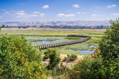 Aerial view of the marshes in Don Edwards wildlife refuge. Fremont, San Francisco bay area, California Stock Images
