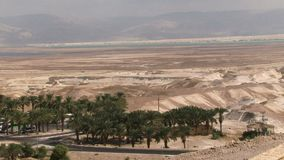 Aerial view of the dead sea stock video footage