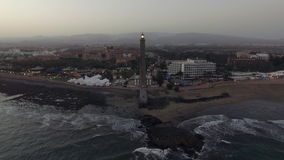 Aerial view of Maspalomas Lighthouse and resort on the coast stock video