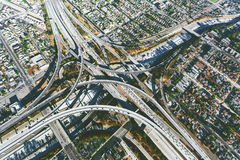 Aerial view of a massive highway intersection in LA Stock Images