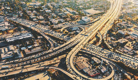 Aerial view of a massive highway intersection in LA Royalty Free Stock Images