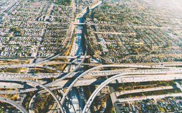Aerial view of a massive highway intersection in LA Royalty Free Stock Photography