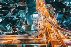 Aerial view of a highway intersection in Osaka, Japan Stock Image