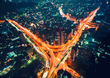 Aerial view of a massive highway intersection in Tokyo Stock Image