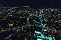 Aerial view of a massive highway in Los Angeles stock images