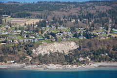 Whidbey Island Landslide Aerial. Aerial view of the massive landslide on Whidbey Island, near Coupeville, Washington, that severely damaged one home and isolated Stock Image