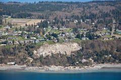 Whidbey Island Landslide Aerial Stock Image