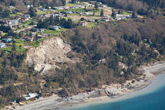 Aerial Whidbey Island Muddslide. Aerial view of the massive landslide on Whidbey Island, near Coupeville, Washington, that severely damaged one home and isolated Royalty Free Stock Image