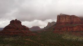 Aerial View Of Massive Red Rock Formations On A Rainy Day In Sedona, Arizona