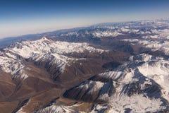 Aerial view massive snow mountain range in Georgia.  royalty free stock photos