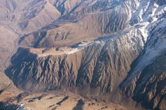 Aerial view massive snow mountain range in Georgia.  stock photos