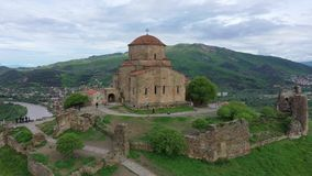 Aerial view. The masterpiece of Early Christian Orthodox architecture Jvari Monastery. In Georgia stock video footage