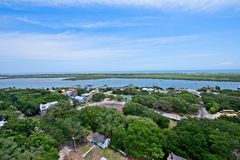 Aerial view of the Matanzas River in St. Augustine, Florida USA. This is an image of an aerial view of the Matanzas River in St. Augustine, Florida, USA.  There Royalty Free Stock Images