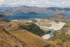Aerial view of Matukituki river and lake Wanaka Royalty Free Stock Images