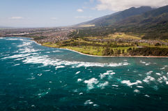 Aerial view of Maui coast royalty free stock photography