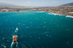 Aerial view of Maui coast line royalty free stock photography