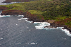 Aerial view of Maui`s North Coast.  Road to Hana. Spectacular view of the ocean washing over Maui`s North Coast. Road to Hana, Maui Hawaii. Aerial view from the Stock Photo
