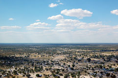 Aerial view of Maun. On a bright and sunny day with blue sky - The Okavango Delta stock photo