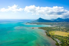 Aerial view of Mauritius island royalty free stock photos