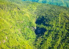 Aerial view of Mauritius island. Aerial view of waterfall  in Black River Gorge National Park, Mauritius island Stock Images