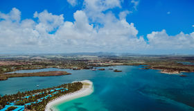 Aerial view of Mauritius. Island with beautiful lagoon Royalty Free Stock Images