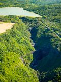 Aerial view of Mauritius island. Aerial view of Black River Tamarin in Black River Gorge National Park, Mauritius island Stock Photo